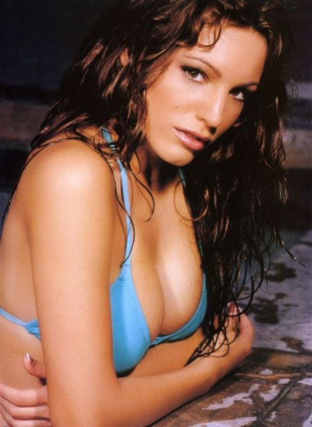 Kelly Brook blue bikini top