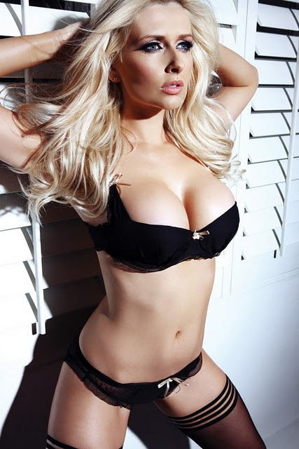 Gemma Merna Posing Black Stockings & Underwear
