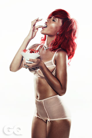 Rihanna Eating Strawberries and Cream in Her Underwear