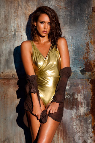 Jessica Alba Wearing a Gold Swimsuit