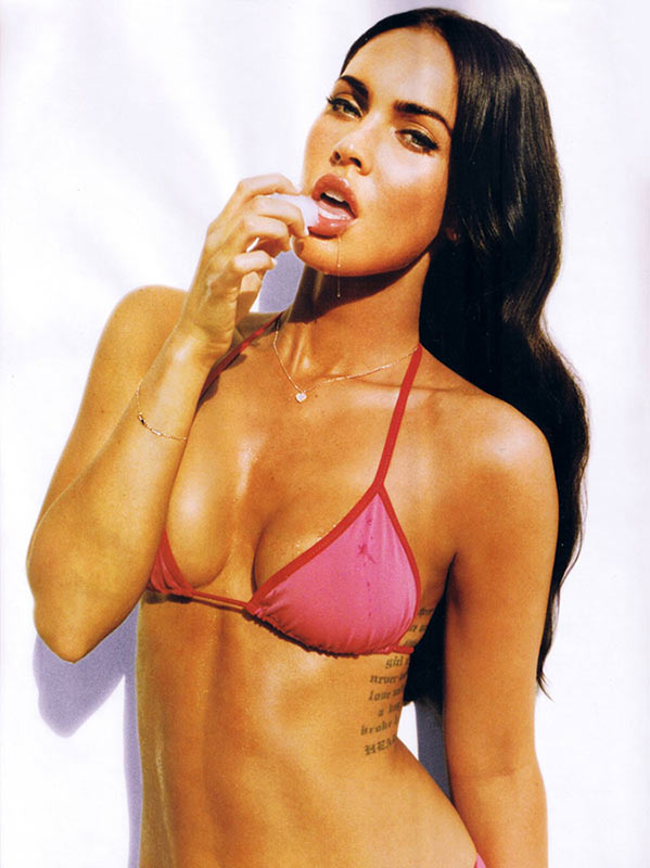 Megan Fox, Pink Bikini Top, Ice on Lips