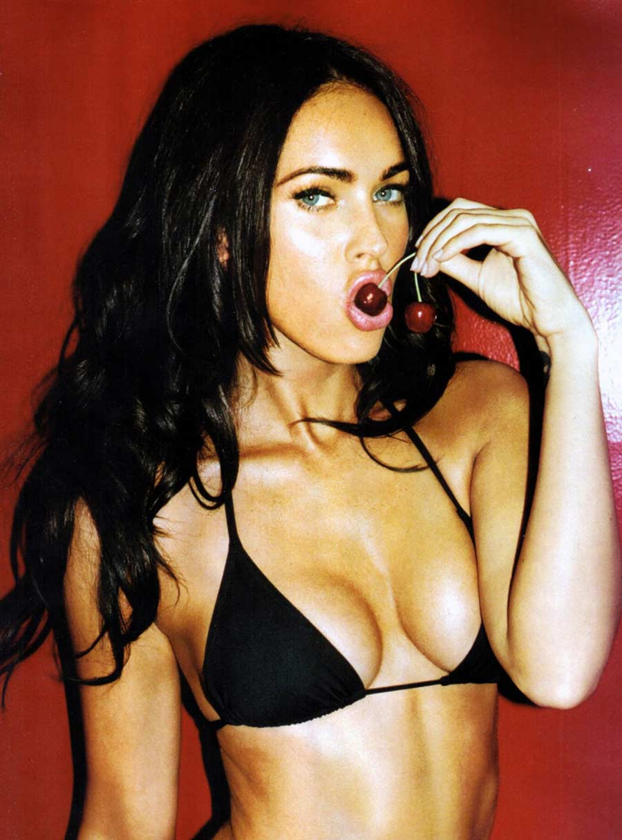 Megan Fox, Black Bikini, Eating Cherries