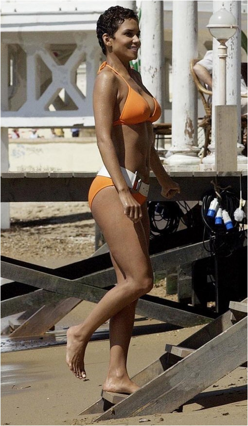 Halle Berry Orange Bikini on the Beach