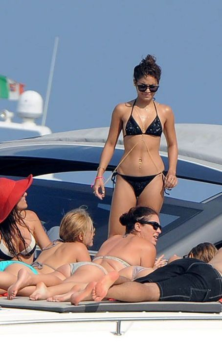 Vanessa Hudgens Gold Chain, Black Bikini in Ischia Italy