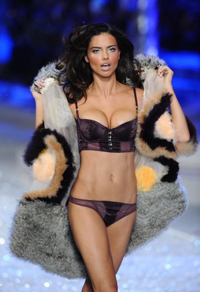 Adriana Lima fur and velvet underwear