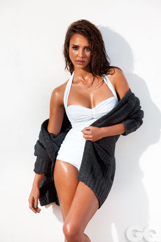 Jessica Alba, White Swimsuit with Cardigan