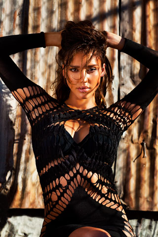 Jessica Alba in a Black Net Dress