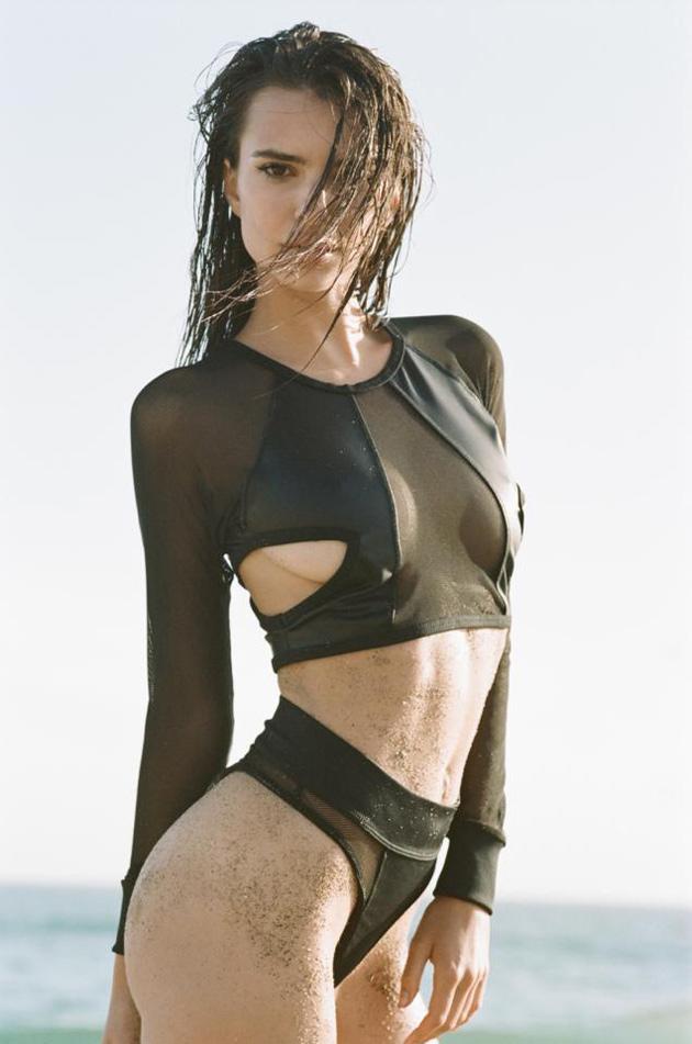Emily Ratajkowski Black Bikini in Malibu