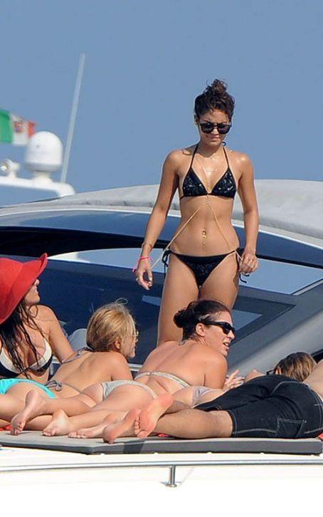 Vanessa Hudgens Gold Chain, Black Bikini in Ischia Italy